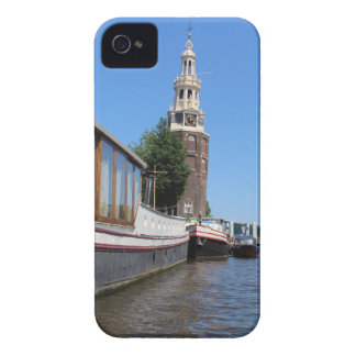Amsterdam canal view - Boats and spire iPhone 4 Case