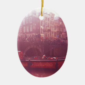 amsterdam canal view with cruise boat ceramic ornament