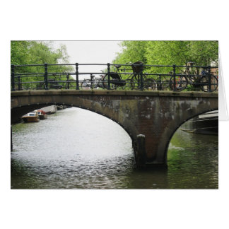Amsterdam Canal with Bridge & Bicycles Photo Card