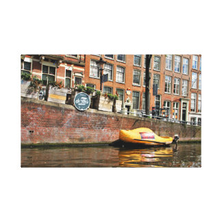 Amsterdam, Canal, Wooden Shoe Boat Canvas Print
