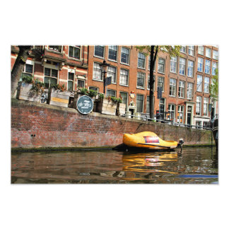 Amsterdam, Canal, Wooden Shoe Boat Photo Print