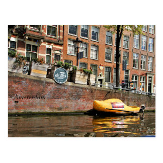Amsterdam, Canal, Wooden Shoe Boat Postcard
