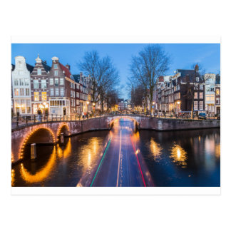Amsterdam Canals at Night Postcard
