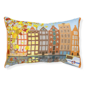Amsterdam City Autumn Colorful Indoor Dog Bed