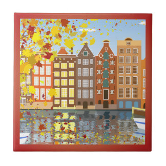 Amsterdam City Canal Autumn Colorful Ceramic Tile