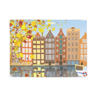 Amsterdam City Canal Autumn Colorful Door Mat