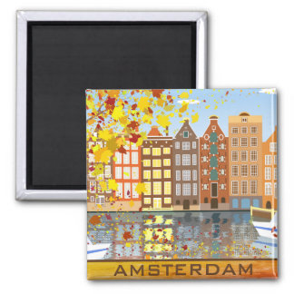 Amsterdam City Canal Autumn Colorful Fall Magnet