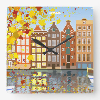 Amsterdam City Canal Autumn Colorful Wall Clock