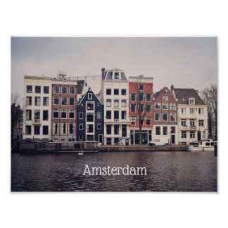 Amsterdam city houses poster