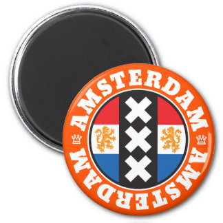 Amsterdam Dutch Flag and City Crosses Symbol Magnet