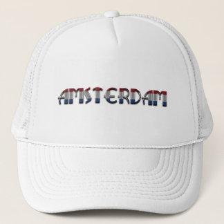 Amsterdam Dutch Flag Colors Netherlands Typography Trucker Hat