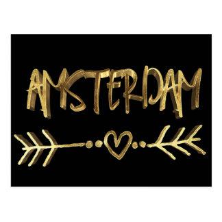 Amsterdam Dutch Love Elegant Black Gold Typography Postcard