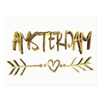 Amsterdam Dutch Love Elegant Gold Look Typography Postcard