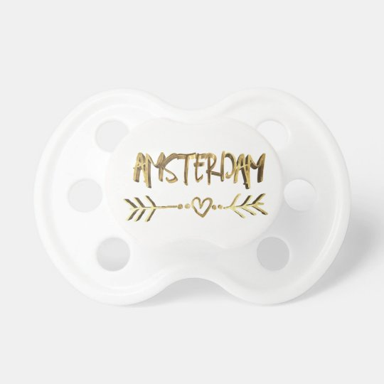 Amsterdam Dutch Love Gold Look Typography Heart Baby Pacifiers