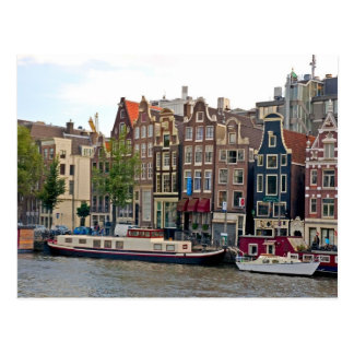 Amsterdam houses by the canal postcards
