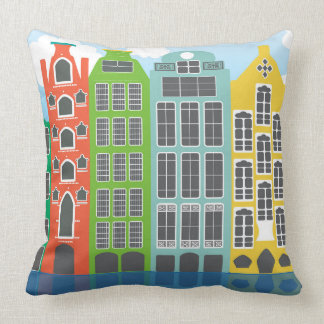 """Amsterdam Houses In Colour Throw Pillow 20"""" x 20"""""""