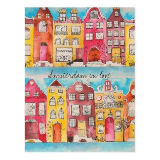 Amsterdam in love postcard