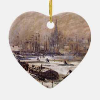 Amsterdam in the Snow by Claude Monet Ceramic Ornament