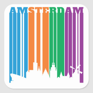 Amsterdam Letters Stripes in City Skyline Square Sticker