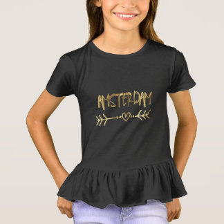 Amsterdam Love Black Gold Look Typography Elegant T-Shirt