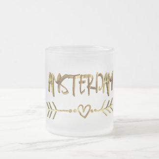 Amsterdam Love Dutch Gold Typography Elegant Frosted Glass Coffee Mug