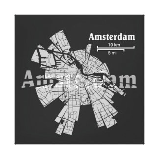 Amsterdam Map Wrapped Canvas Gallery Wrapped Canvas