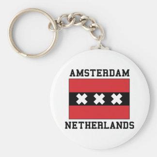 Amsterdam Netherlands Basic Round Button Key Ring