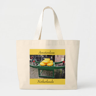 Amsterdam, Netherlands, Cheese, Shop, Large Tote Bag