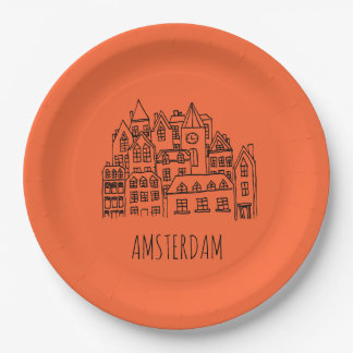 Amsterdam Netherlands Holland City Souvenir 9 Inch Paper Plate