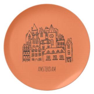 Amsterdam Netherlands Holland City Souvenir Orange Party Plate