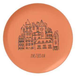 Amsterdam Netherlands Holland City Souvenir Orange Plate