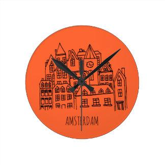 Amsterdam Netherlands Holland City Souvenir Orange Round Clock