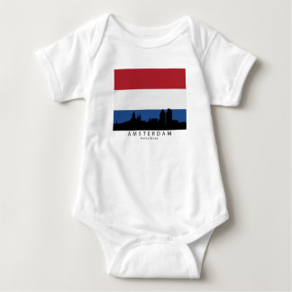 Amsterdam Netherlands Skyline Dutch Flag Baby Bodysuit