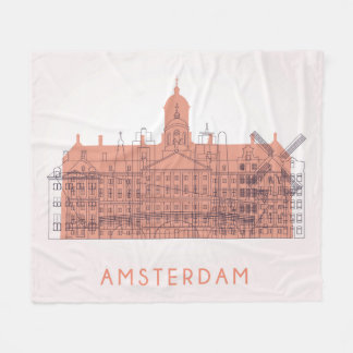 Amsterdam, Netherlands | Skyline of Landmarks Fleece Blanket
