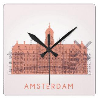 Amsterdam, Netherlands | Skyline of Landmarks Square Wall Clock