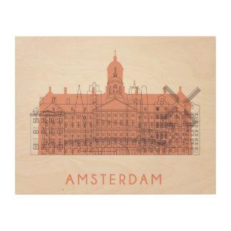 Amsterdam, Netherlands   Skyline of Landmarks Wood Wall Decor