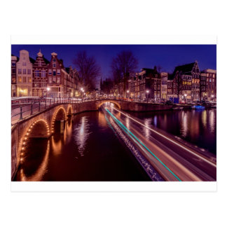 Amsterdam postcard canals ate night