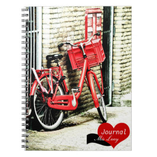 Amsterdam, Red Bicycle (Notebook) Notebook