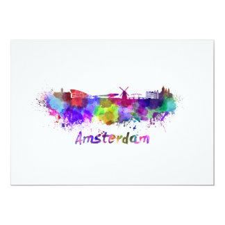 Amsterdam skyline in watercolor card