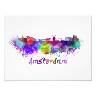 Amsterdam skyline in watercolor photograph