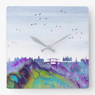 Amsterdam Skyline Square Wall Clock