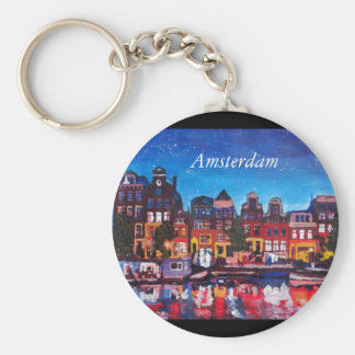 Amsterdam Skyline With Canal At Night Keychains