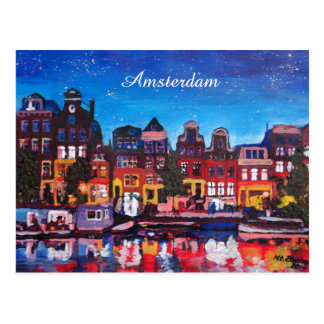 Amsterdam Skyline With Canal At Night Post Card