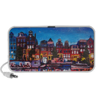 Amsterdam Skyline With Canal At Night Travel Speaker