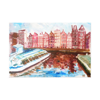Amsterdam street view. canvas print