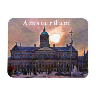 Amsterdam. Sunset over the Royal Palace. Magnet