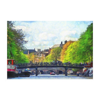 Amsterdam. View of the Singel Canal. Canvas Print