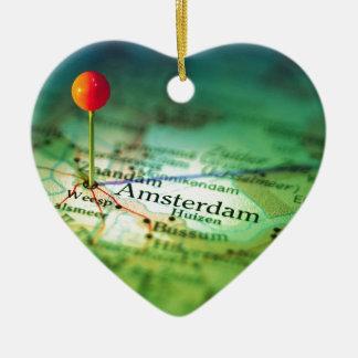 AMSTERDAM Vintage Map Ceramic Ornament