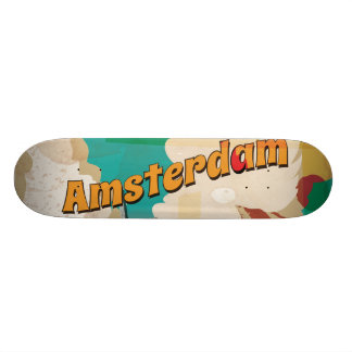 Amsterdam Vintage Travel Poster 18.1 Cm Old School Skateboard Deck