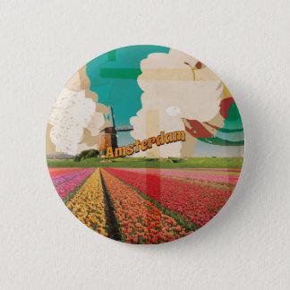 Amsterdam Vintage Travel Poster 6 Cm Round Badge